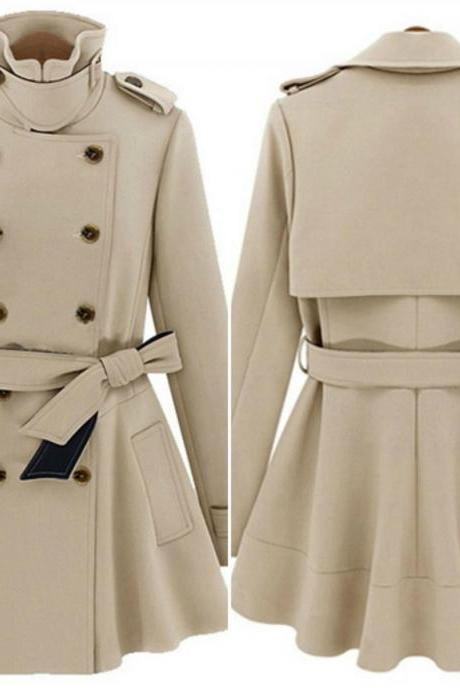 Stylish Double Breasted Turn Down Collar Trench Coat 2QDHVPFZNRRXUPDDLBGO0 D51Y5BH0JSO