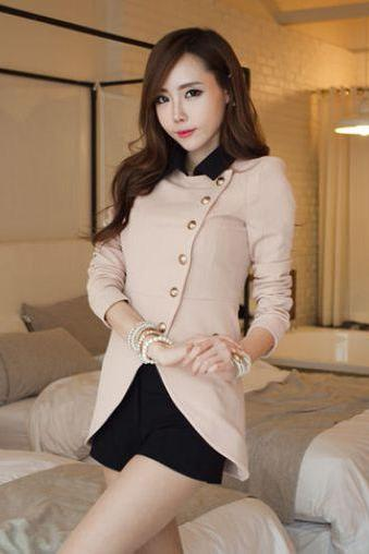 Stylish Pink And Black Coat GLJBS1FTTBMIXS63ULH1S RI0F5DFD6OZ